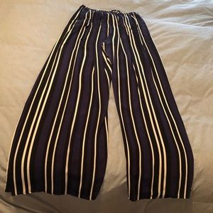 Maeve Striped Crossover Wide Leg Pant
